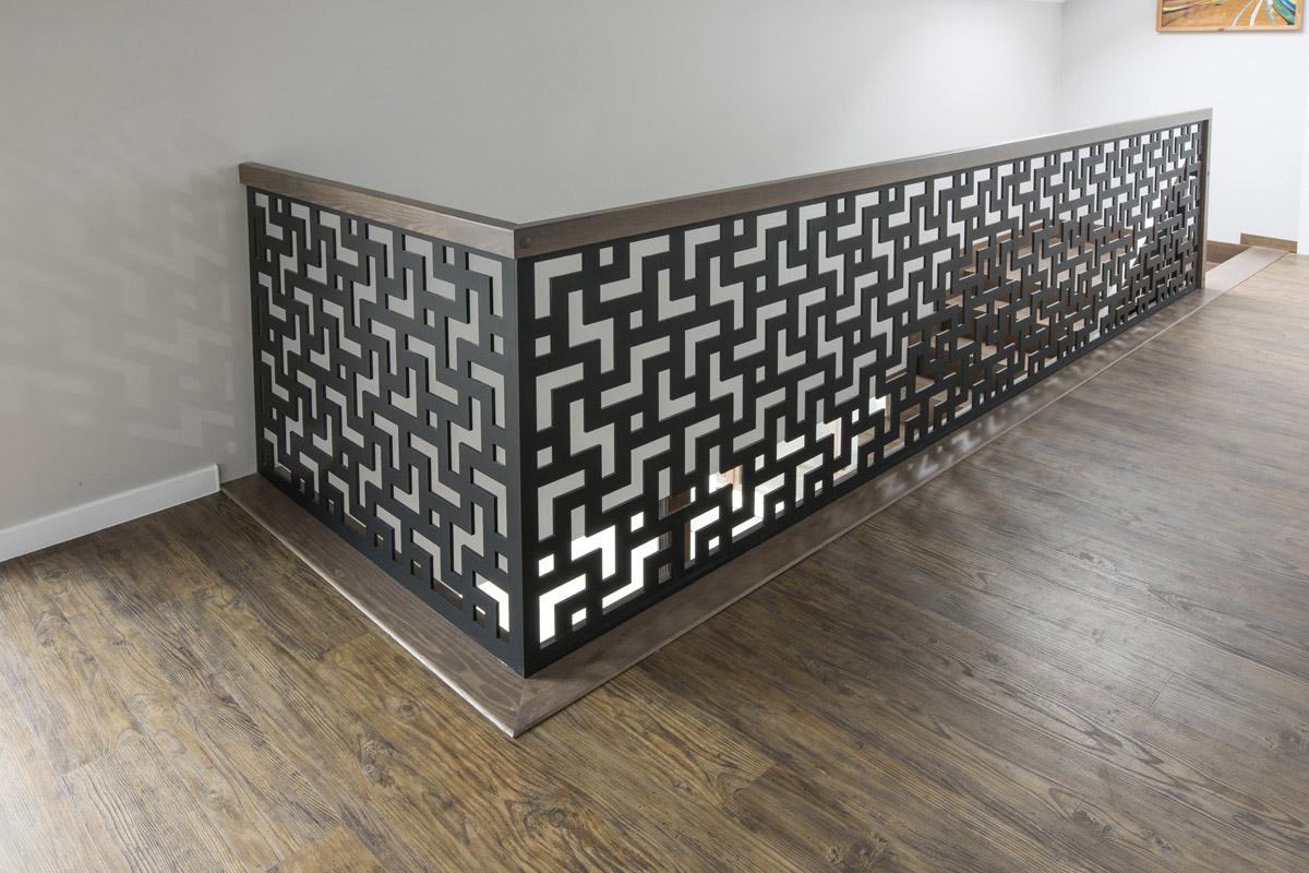 Schody drewniane - Warszawa - Balustrada laserowa